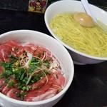 Kuwabara - 鮪の脳天小丼と塩かけそばの定食(某日の裏そば)
