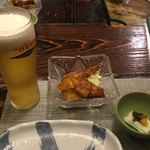 秋田比内や - お通しと生ビール