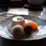 Yusan - 栗のアイス、ほうじ茶のアイス、果物