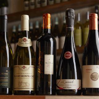 通の方にもご満足いただける、厳選ワインを多数ご用意◎