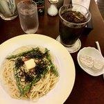 シャノアール - たっぷりタラコと明太子のクリームパスタ&アイスコーヒー