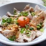 たまごカフェ - 料理写真:笹やか地鶏の夏の鶏丼セット(1280円) 鶏丼