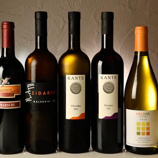 すべてイタリア産のワインは約60銘柄◆シーンに合わせてどうぞ
