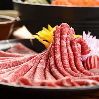 「最高級A5神戸牛」のしゃぶしゃぶやすき焼きをご堪能。