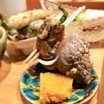 93480794 - 〈八寸〉                       蟹のあんかけ、磯つぶ貝、カラスミ、なしと枝豆サラダ、ハゼフリット、トマトのすり流し、