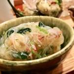 93480797 - 〈八寸〉                         蟹のあんかけ、磯つぶ貝、カラスミ、なしと枝豆サラダ、ハゼフリット、トマトのすり流し、