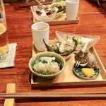 和創作 太 - 〈八寸〉 蟹のあんかけ、磯つぶ貝、カラスミ、なしと枝豆サラダ、ハゼフリット、トマトのすり流し、