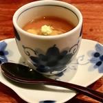 和創作 太 - 〈茶碗蒸し〉 トウモロコシのつめたい茶碗蒸しに、北海道奥尻のウニ、べっこうあんかけ