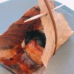 京料理いしす - 炊合:梨と黒豚の朴葉味噌焼き