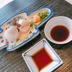 京料理いしす - 向附:ホタテとヒラメのお刺身