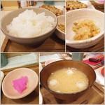 ゆかり食堂 - ごはん、小鉢、お味噌汁、おしんこ