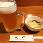 かつ田 - ビールと、お通しは玉子豆腐です。