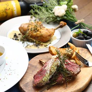 厳選お肉を使用したフレンチベースのコース料理