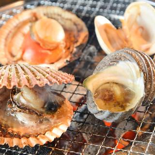 七輪で焼く海鮮は旨い!旬の海の幸は、じっくりと炭火で!