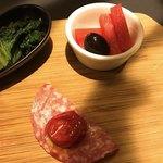 パフェ、珈琲、酒 『佐藤』 - 小松菜のおひたし、サラミ、大根のピクルス