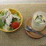 プレミアムレストラン 東京 金のダイニング 鮪金 - 茶碗蒸し、サラダ