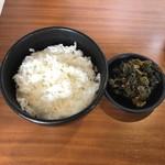 らーめん 四恩 - Aセット(ライス)と無料の辛子高菜