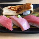にぎり長次郎 - 本まぐろ三昧(874円)、煮穴子1本にぎり(594円)