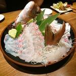 93597099 - 活け〆鯛の薄造り&鯛しゃぶ鍋