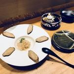蕎麦と日本料理 驚 KYO - いぶりがっこと梅チーズ&そばがきと茄子の揚げだし