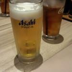 国産牛焼肉くいどん - ビール(380円)&ランチ付ウーロン茶