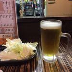93652121 - お通しキャベツ(お替り自由)とビール