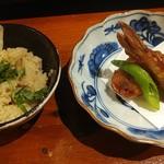 93659839 - 揚物の河豚唐揚げとキノコ御飯