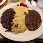 喫茶ロサ・バリエ - 料理写真:あいがけオムハヤシカレー