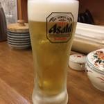 農家のうどん屋 - 生ビール〜(^∇.^)/¥500円・:*+.:+