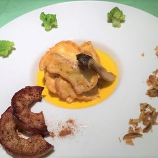 【月替ランチ】活鯛のピカタカボチャのスープ仕立て大根ステー…