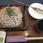 那須高原 麺の匠 - ざるそば大200円サービスで900円、鮎の塩焼き1尾サービス