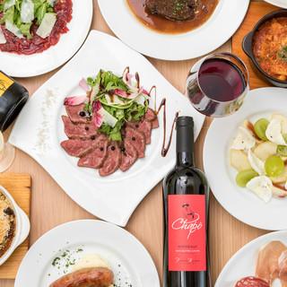 ワインに合わせて美味しい料理をカジュアルに楽しめます