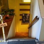 PIZZERIA GRILL BACCO - こちらの階段を下ります