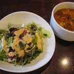 本格スペイン料理&ステーキハウス CASA DEL RIO - セットのサラダとスープ