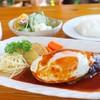 海岸通り - 料理写真:2018年7月 Jエッグハンバーグ+サラダ・ライス・みそ汁セット【980+300円】