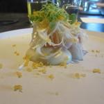 93770228 - 魚料理 寝セロリのソースうえに真鯛そしてまた寝セロリのそうめん状になったもの