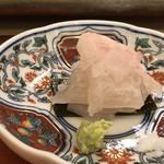 鮨 そえ島 - ◆くえ(あら)昆布〆・・高級魚です。昆布〆の塩梅がよく、アラの旨みをより感じました。