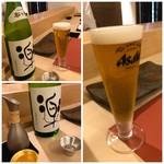 鮨 そえ島 - ◆主人はまず「ビール」、私は日本酒「松の司:楽」を。体調を崩してからほぼ1か月ぶりの日本酒。^^