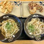 はなまるうどん - かけうどん小盛×2杯&天ぷら(ゲソ、かき揚げ)