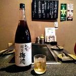 もんじゃ焼きお好み焼き鉄板焼き 一(いち) - 南高梅で漬け込んだ梅酒に宇治の緑茶を加えた爽やかな渋みが味わい深い梅酒。