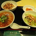 神田 天府 - 4点セット(四川坦々麺、麻婆丼(小)、エビチリソース、棒棒鶏サラダ)