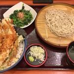 天丼てんや - 料理写真:煮穴子・めごちの海鮮天丼と小そば(冷)セット + ほうれん草のおひたし