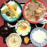 お料理 御厨 - 御厨定食 お造りと天麩羅、茶碗蒸し付き(夜定食)