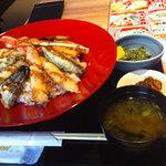 北の味紀行と地酒 北海道 - ランチの蟹えび天丼(ご飯大盛り・味噌汁お代わり・ドリンクバー付き)