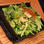 旨唐揚げと居酒メシ ミライザカ - 空芯菜のバター塩炒め(499円+税)2018年9月