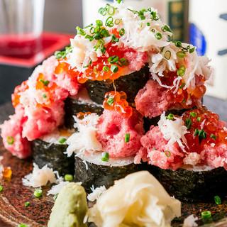 イクラとカニのこぼれ寿司