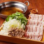 氷温熟成豚と水菜の梅しゃぶしゃぶ