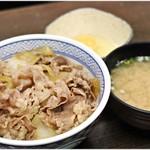 吉野家 - 牛丼(並盛)+みそ汁+玉子  380+60+60円