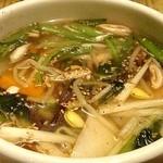 きらく亭 - 肉よりこのスープへ感動したなぁ。野菜スープ520円也
