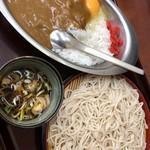 みのがさ - カレーライス+生卵、そば(冷)